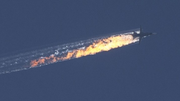 Russian warplane goes down in Syria's northwestern town of Bayirbucak, near the Turkish border, on November 24, 2015.