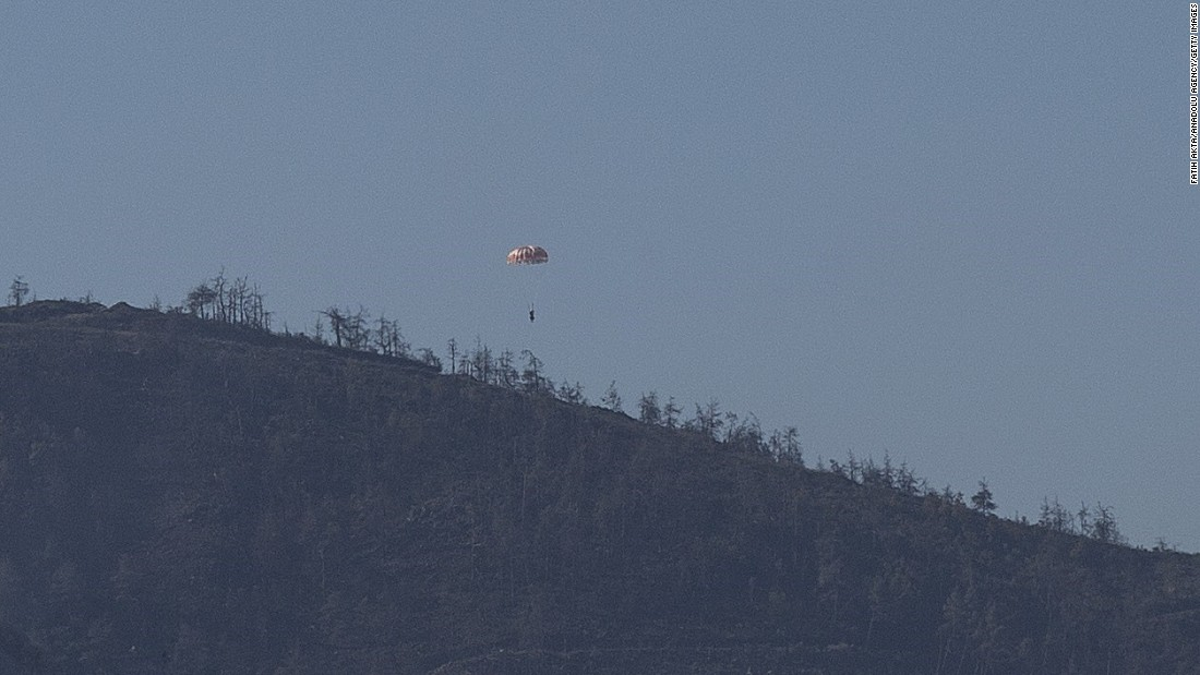 The Anadolu Agency reported that a parachute was also seen leaving the jet before it crashed. The fate of the airman remains unclear.