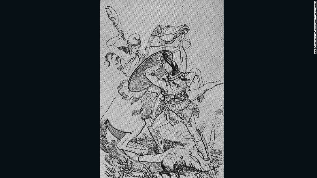 "A female Amazon warrior atop a horse swings her battleaxe to strike an enemy male warrior, in this 19th century illustration by T. Williams.<br />""Amazon women were members of nomadic steppe tribes centered on horses and archery,"" explained Mayor.<br />""Girls and boys learned to ride and shoot arrows at a young age, to defend the tribe. The combination of horses and the bow was the equalizer -- it meant that a female archer could be as fast and deadly as a male."""
