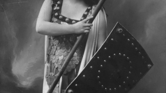 Soprano Zdenka Fassbender appears as warrior maiden Brunnhilde, in a production of Richard Wagner