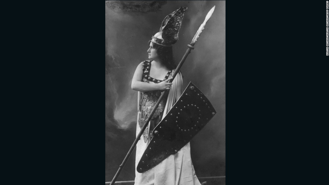 "Soprano Zdenka Fassbender appears as warrior maiden Brunnhilde, in a production of Richard Wagner's opera ""Die Walkure,"" around the turn of the 20th century."