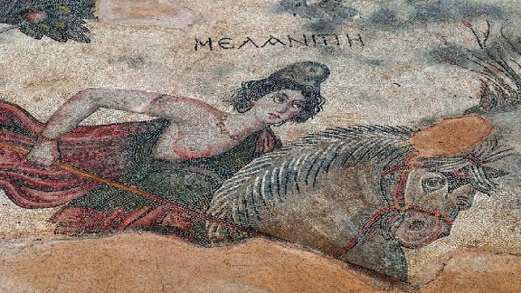 "A mosaic of Amazon queen Melanippe, from the ancient city of Edessa, in what is now Sanliurfa, Turkey. ""The ancient Greeks described Amazons as fierce, war-loving foreign horsewomen-archers who hunted with bows and arrows, had sex on their own terms, and equaled men in battle skills and valor,"" said Mayor. ""Every great Greek hero of myth, from Hercules to Achilles, proved his valor by fighting a bold Amazon queen."""