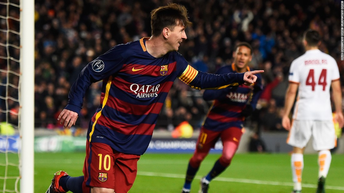 The returning Lionel Messi of Barcelona celebrates scoring his team's second goal against Roma in the 6-1 rout.