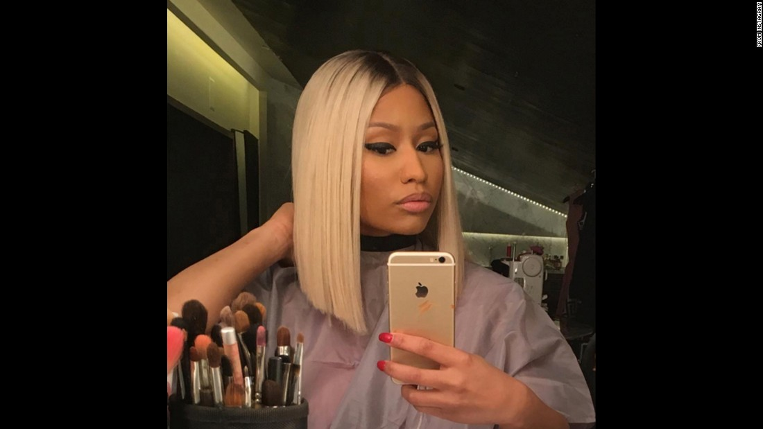 "Rapper Nicki Minaj <a href=""https://www.instagram.com/p/-c_ZIzL8YN/"" target=""_blank"">shows off her new hair color</a> on Monday, November 23."