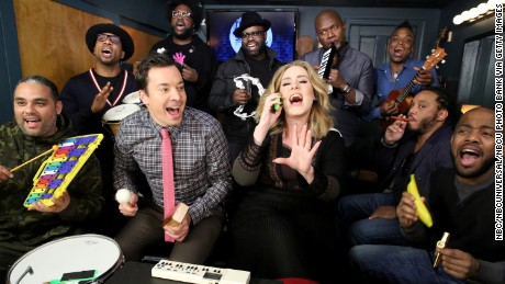 "Adele jams her hit ""Hello"" with host Jimmy Fallon and The Roots on ""The Tonight Show."""