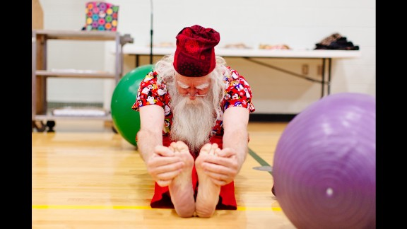 """Santa is a healthy outdoorsman,"" says Tom Valent, dean of the Charles W. Howard Santa Claus School in Midland, Michigan. His Santas-in-training take a fitness class every year to remain limber."