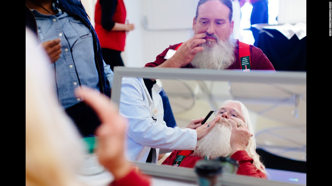 The Santas get a lesson on how to properly care for their beards, including rubbing peppermint oil in it to add a comforting smell. Those who don't have a natural beard can be fitted for an artificial wig and/or beard that costs between $1,100 and $1,800.