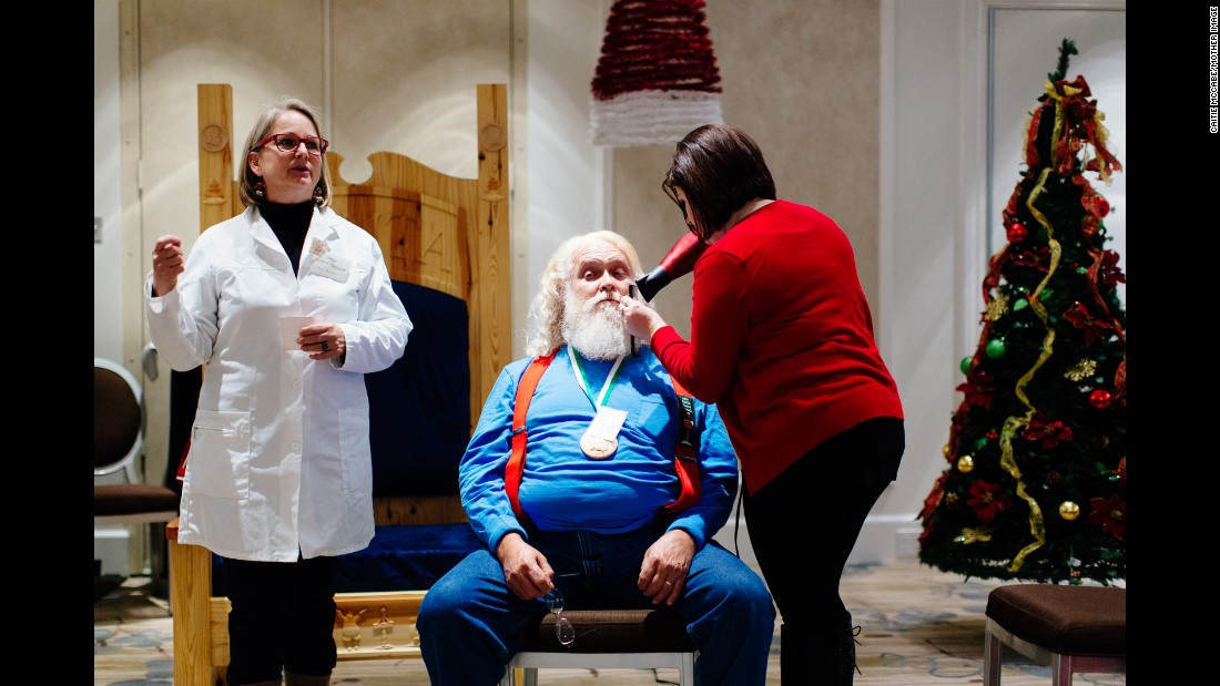 "Sue Matthews Myers, who calls herself ""Santa's personal hairdresser,"" offers advice on curling a mustache to make it look like it has been windblown by the sleigh ride in."