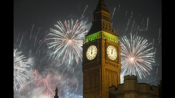 January 1: New Year's fireworks explode over Big Ben in London.
