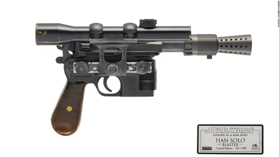 This replica of Han's blaster is probably in far better condition that the original prop created by Roger Christian. The set decorator and prop designer crafted Solo's weapon from a Mauser, attaching various nozzles and scopes to the pistol. But on a shoestring budget, many of the props were only secured with superglue.