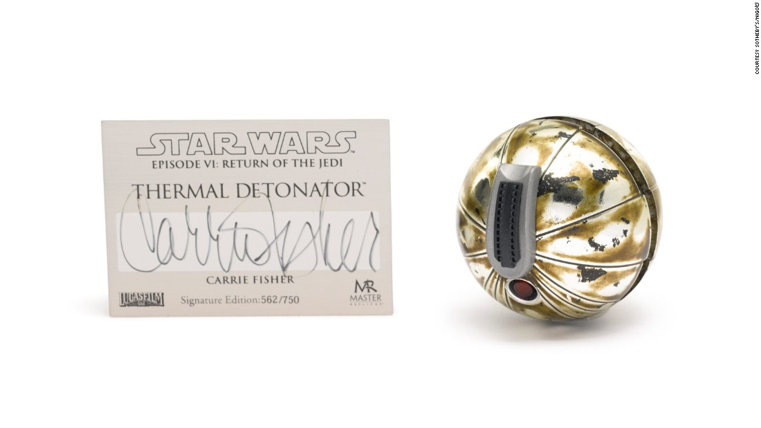 Princess Leia doesn't mess about, and when she took out a thermal detonator in Jabba's layer you knew she meant business. This replica, signed by Fischer, went for well above its prediction.