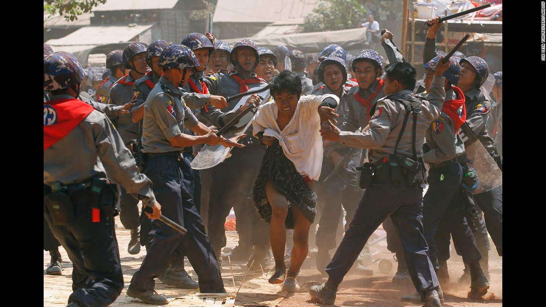 "<strong>March 10:</strong> Police hit a student protester in Letpadan, Myanmar. According to multiple media reports and international watch groups, <a href=""http://www.cnn.com/2015/03/10/world/myanmar-student-protest-crackdown/index.html"" target=""_blank"">students were met with violence</a> as they marched to Yangon, the nation's largest city, to protest an education bill they said limits academic freedom."