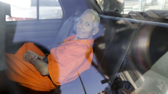 """March 17: Robert Durst, a wealthy New York real-estate heir, is transported to Orleans Parish Prison after his arraignment in New Orleans. Durst faces felony firearm and drug charges in New Orleans, and he has been charged with first-degree murder in Los Angeles. Investigators say they believe Durst was behind the slaying of Susan Berman, his longtime friend. Durst is also the focus of the HBO documentary series """"The Jinx,"""" which explores his wife's 1982 disappearance and investigators' suspicions that Berman was killed because she knew what happened to her. Durst has long maintained he didn't kill Berman or have anything to do with his wife's disappearance."""