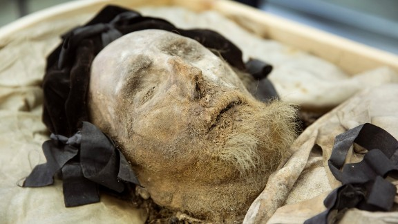 April 10: The mummified body of Peder Winstrup, former bishop of Lund, Sweden, is exhibited to the press after it had been examined by experts in Lund. The research team said the body from the 1600s is one of the best-preserved in Europe, according to Radio Sweden.