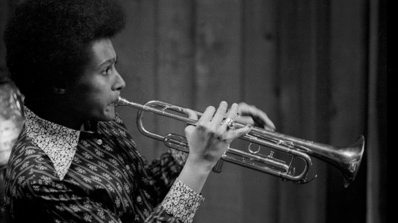 Cynthia Robinson, shown here in a San Francisco recording studio, was the pioneering trumpeter for the psychedelic soul group Sly and the Family Stone. She died November 23 at the age of 71.