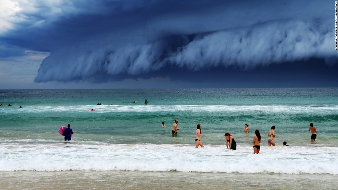 <strong>November 6:</strong> Storm clouds move in over Bondi Beach in Sydney.