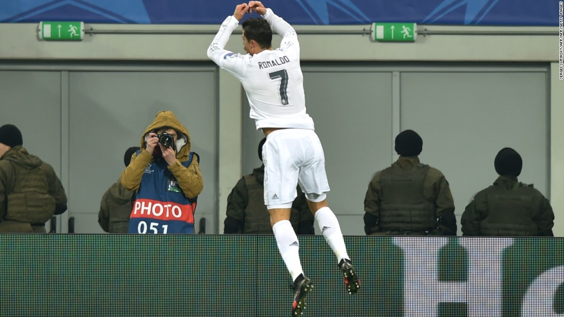 Portuguese forward Cristiano Ronaldo celebrates one of his two goals in Real Madrid's ultimately-nervy 4-3 win Shakhtar Donetsk.