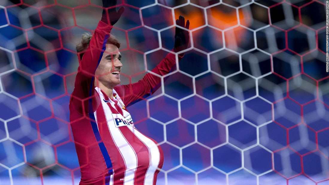 Antoine Griezmann celebrates his second strike as the Frenchman's two goals ensured Atletico beat Turkey's Galatasaray 2-0.
