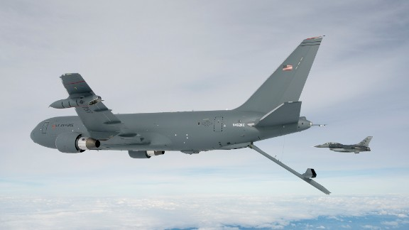 The KC-46A Pegasus deploys the centerline boom for the first time Oct. 9, 2015. The boom is the fastest way to refuel aircraft at 1,200 gallons per minute. (Boeing photo/John D. Parker)