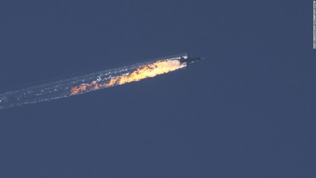 "A Russian fighter jet <a href=""http://www.cnn.com/2015/11/26/middleeast/syria-turkey-russia-warplane-shot-down/"" target=""_blank"">is shot down by Turkey</a> near the Turkish-Syrian border on Tuesday, November 24. One of the two pilots was killed in the air, while the second was rescued. Turkey said it hit the plane after it violated Turkey's airspace and ignored 10 warnings. Russia has contested the claim, and its rescued co-pilot told state media that ""there were no warnings -- not via the radio, not visually."" Turkey's military has released audio it says proves its claim; Russia has yet to address the audio. Russian President Vladimir Putin has said the Russian plane was attacked a kilometer inside Syrian territory, while Turkish President Recep Tayyip Erdogan said it crashed in Turkey, injuring two people."