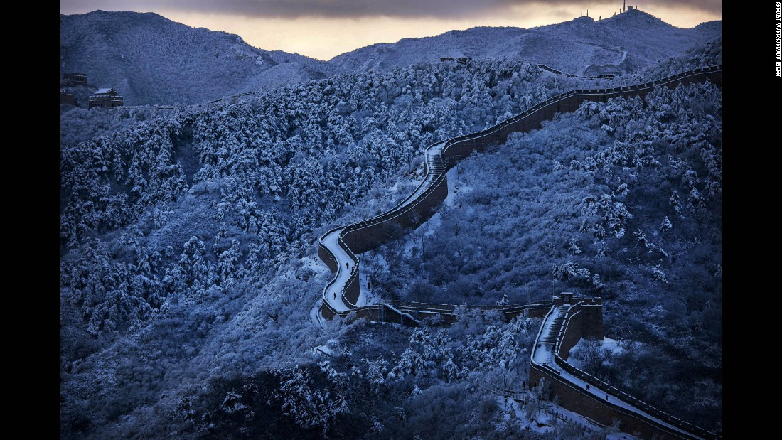 Snow is seen on the Great Wall of China near Beijing on Monday, November 23.