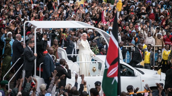 NAIROBI, KENYA - NOVEMBER 26:  Pope Francis arrives at the University of Nairobi for a public mass in downtown Nairobi on November 26, 2015, in Nairobi, Kenya. Pope Francis makes his first visit to Kenya on a five day African tour that is scheduled to include Uganda and the Central African Republic. Africa is recognised as being crucial to the future of the Catholic Church with the continent's Catholic numbers growing faster than anywhere else in the world.  (Photo by Nichole Sobecki/Getty Images) *** BESTPIX ***