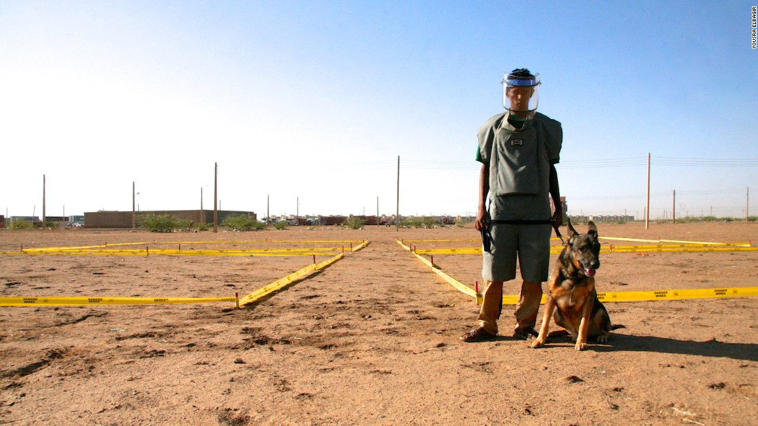 The training is done using detonated landmines.
