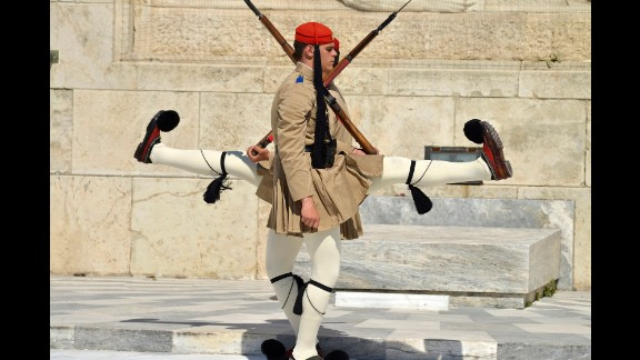 April 7: Honor guards march in front of the Tomb of the Unknown Soldier outside Greece's Parliament in Athens.