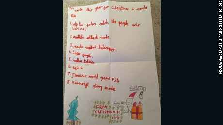 Christian Hickey's letter to Santa.