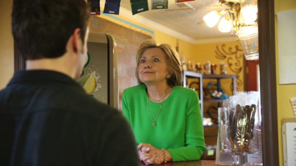 April 14: Democratic presidential candidate Hillary Clinton talks with people during a surprise stop in Le Claire, Iowa. The former first lady and U.S. secretary of state has been the front-runner in the Democratic race.