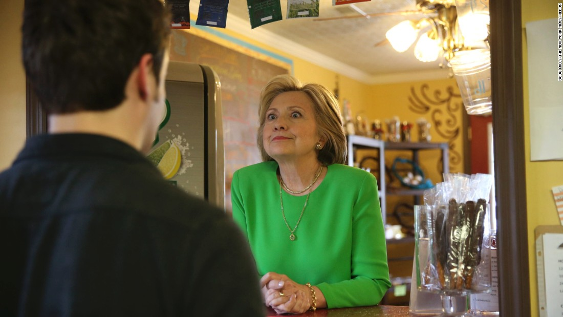 <strong>April 14:</strong> Democratic presidential candidate Hillary Clinton talks with people during a surprise stop in Le Claire, Iowa. The former first lady and U.S. secretary of state has been the front-runner in the Democratic race.