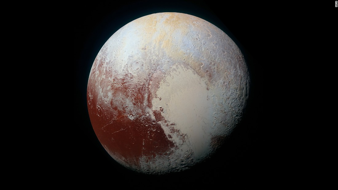 "<strong>July 14:</strong> NASA's <a href=""http://www.cnn.com/2014/08/25/tech/gallery/pluto/index.html"" target=""_blank"">New Horizons spacecraft</a> captured this enhanced-color view of Pluto before flying by the icy world and its moons. The mission completed what NASA calls the reconnaissance of the classical solar system, and it made the United States the first nation to send a space probe to every planet from Mercury to Pluto."