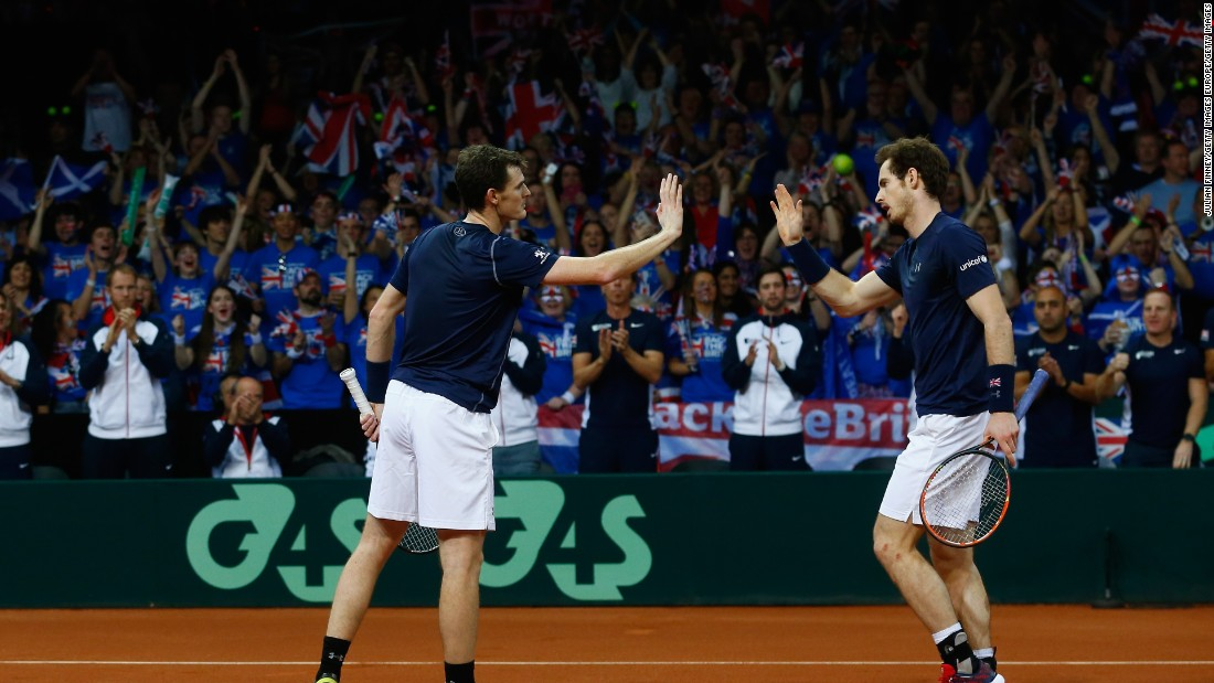 Great Britain took the lead in the series when Andy and older brother Jamie beat Goffin and Steve Darcis in four sets in Saturday's doubles.