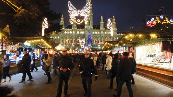 In Vienna, Austria, Rathausplatz in front of City Hall is transformed into a sparkling Christmas market.