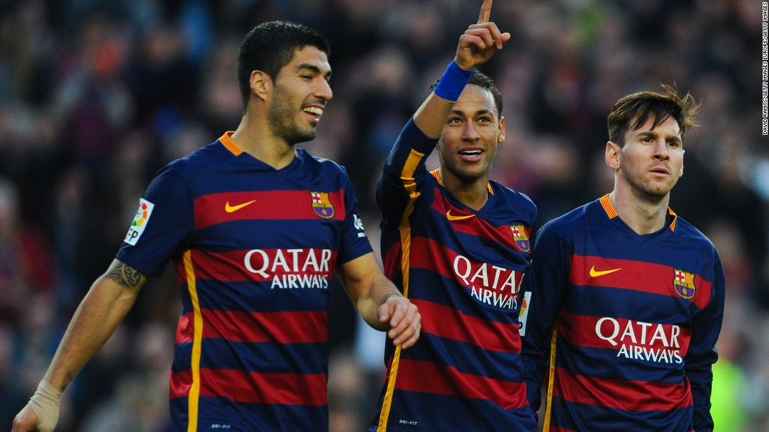 Neymar (C), Luis Suarez (L) and Lionel Messi all scored for Barcelona in its 4-0 victory over Real Sociedad.