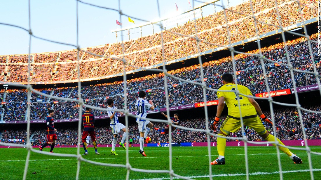 Luis Suarez fires home Barcelona's second goal against Real Sociedad with a spectacular volley.