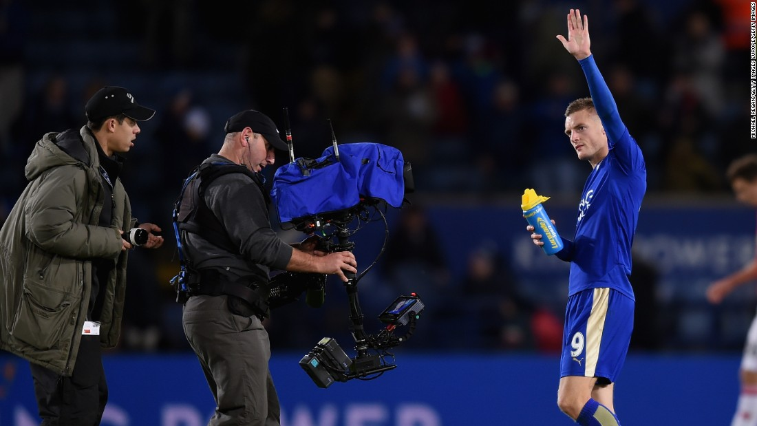 Despite the draw which saw Leicester knocked off the top of the table by Manchester City, the night belonged to Vardy who will look to extend his scoring record against Swansea next weekend.