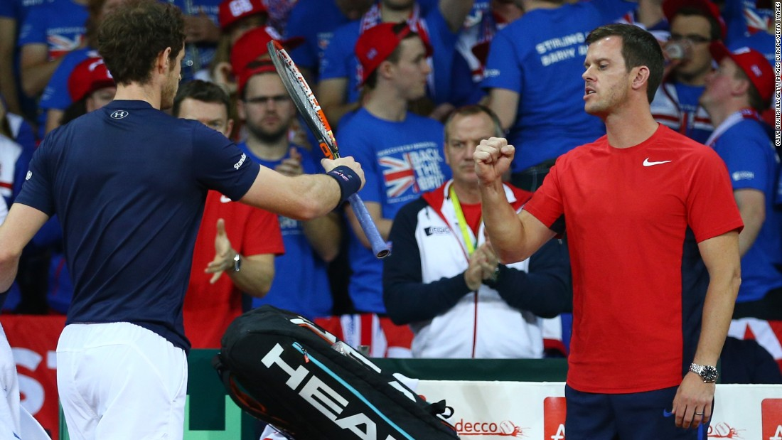 Great Britain captain Leon Smith, right, knows how fortunate he is to have Murray on his side. Murray finished at 11-0 in the Davis Cup this year.