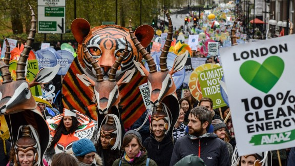Protesters march down Piccadilly during the London demonstration.