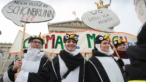 Protesters wearing penguin costumes march in Vienna, Austria.