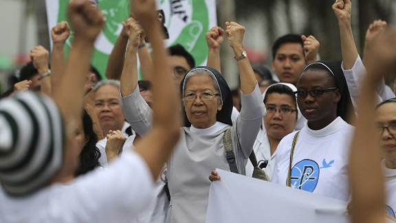 Filipino Catholic nuns join the Climate Solidarity Prayer March in Manila, Philippines.