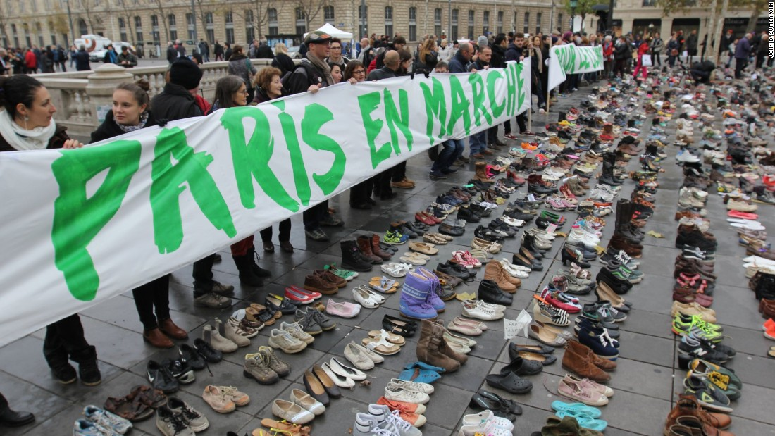 Climate activists organized a silent march in Paris on Sunday to avoid defying a ban on mass protest on Sunday, November 29. More than 140 world leaders are gathering in Paris for high-stakes climate talks that start Monday, and activists are holding marches and protests around the world to urge them to reach a strong agreement to slow global warming.