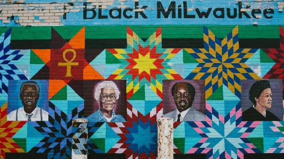 Famous black Milwaukeeans are seen on a mural off North Avenue in the Bronzeville neighborhood. In Milwaukee, African-Americans are overwhelmingly concentrated in the city and a few nearby suburbs. The surrounding suburban counties are overwhelmingly white.