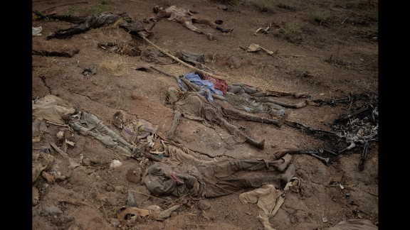 April 8: A mass grave is seen near the Abattoir in Gwoza, Nigeria. It hadn't been determined who these people were or how they were killed, but they were presented to the media as victims of Boko Haram, an Islamist militant group waging a campaign of violence in northern Nigeria.