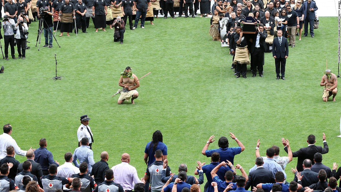 Former All Blacks, including some who played alongside Lomu, performed an emotional haka as his coffin left the field at Eden Park.