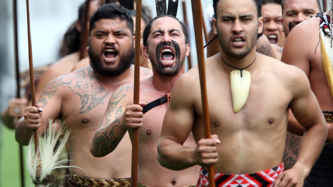 Maori warriors perform at the public service for Lomu, who was of Tongan descent.