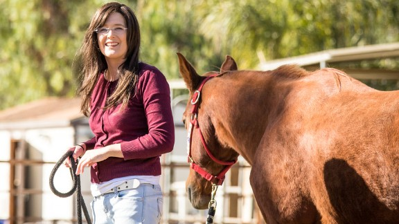 Shelly May's health problems have been helped by horse therapy.