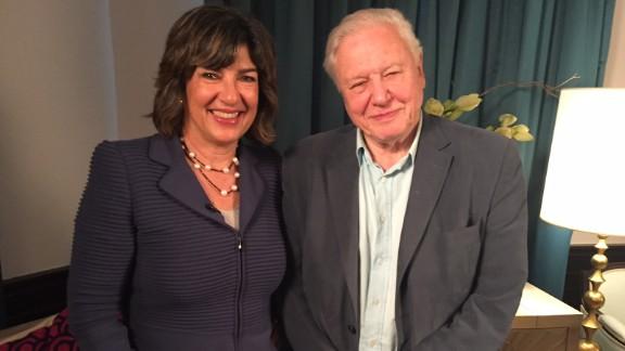 Attenborough with CNN's Christiane Amanpour in Paris as the COP21 cliamte conference began.