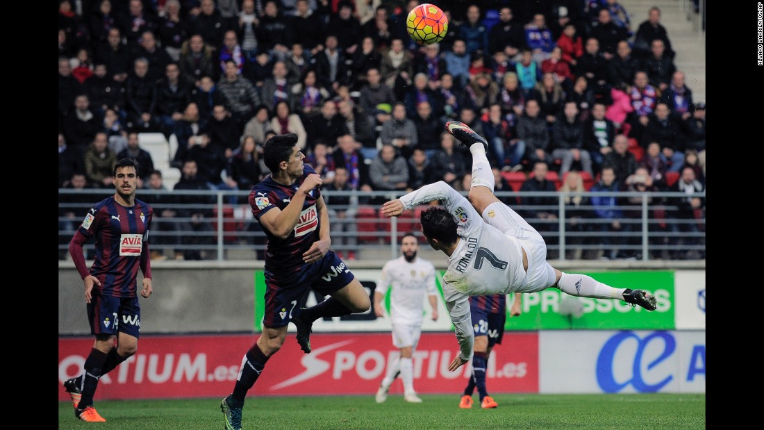 Real Madrid superstar Cristiano Ronaldo tries an overhead kick while playing a league match in Eibar, Spain, on Sunday, November 29.