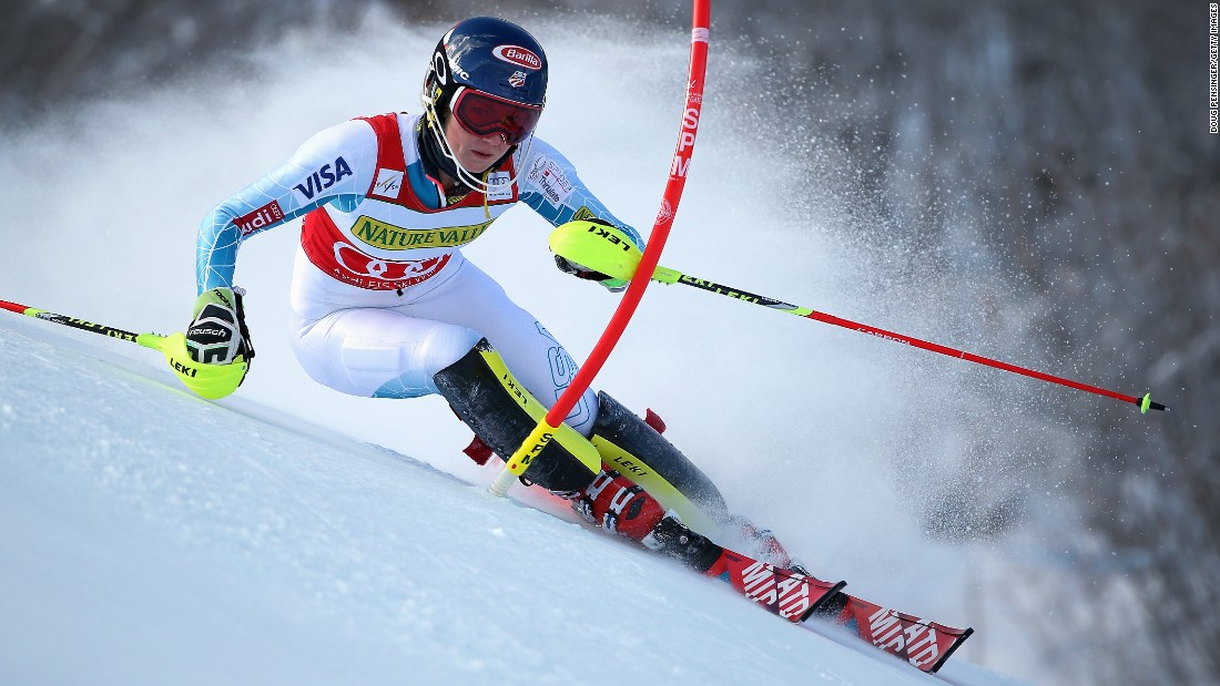 American skier Mikaela Shiffrin cuts a corner during a World Cup event in Aspen, Colorado, on Saturday, November 28. Shiffrin finished first in the slalom.